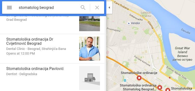 Google mape rezultat