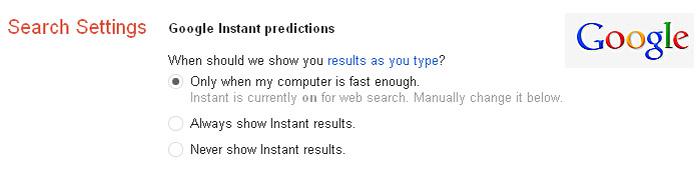 Google instant podesavanja