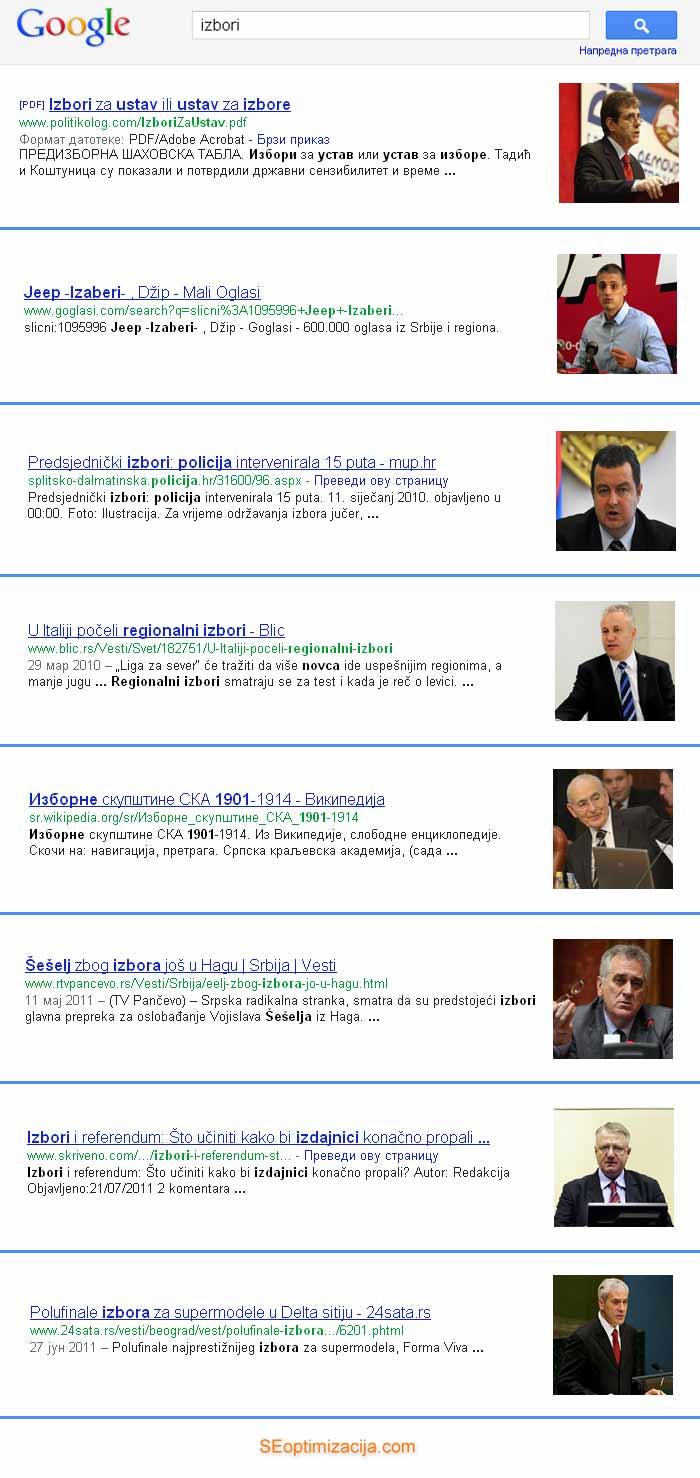 Izbori i personalizovana Google pretraga