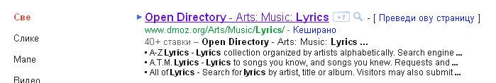 lista DMOZ Google rezultata