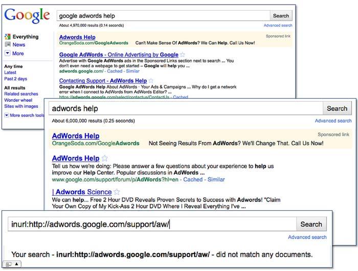 nema google adwords help centra u pretrazi