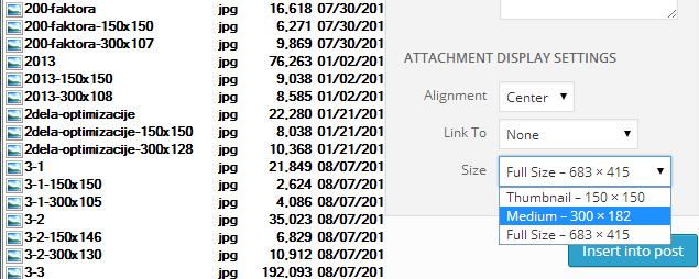 seo optimizacija velicine slike na stranici