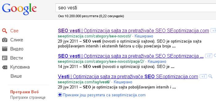 title opis i url adresa menjaju mesta u Google rezultatima